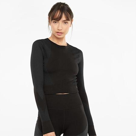 Seamless Fitted Damen Langarm-Trainingsshirt, Puma Black, small
