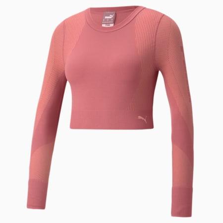 Camiseta de entrenamiento de mangas largas sin costura al cuerpo para mujer, Mauvewood-Peach Parfait, pequeño