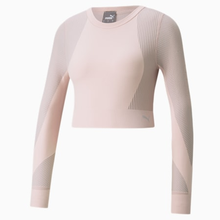 Seamless Long Sleeve Fitted Women's Training Tee, Lotus-High Rise, small-GBR