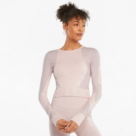 Seamless Long Sleeve Fitted Women's Training Tee, Lotus-High Rise, small