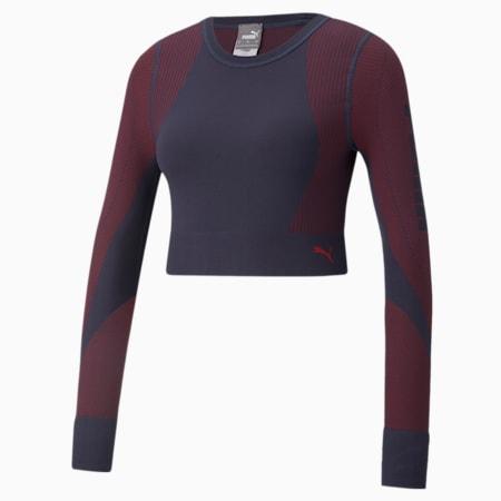 Camiseta de entrenamiento de mangas largas sin costura al cuerpo para mujer, Spellbound-Sunblaze, pequeño