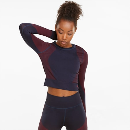 Seamless Long Sleeve Fitted Women's Training Tee, Spellbound-Sunblaze, small