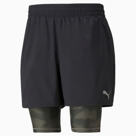 """Shorts de entrenamiento estampados 2 en 1 de 5"""" para hombre, Puma Black-Grape Leaf, pequeño"""