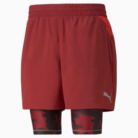 """Shorts de entrenamiento estampados 2 en 1 de 5"""" para hombre, Intense Red-High Risk Red, pequeño"""