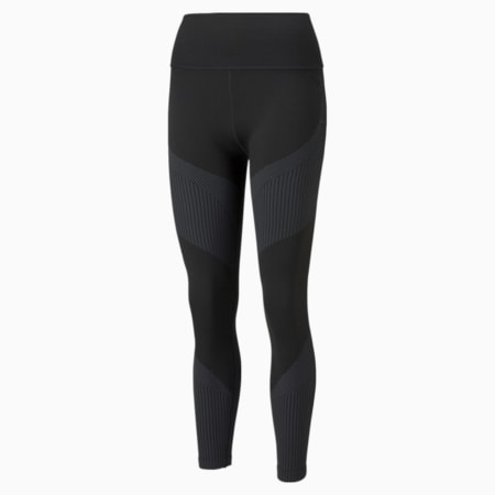 Seamless High Waist 7/8 Women's Training Leggings, Puma Black-Asphalt, small-GBR