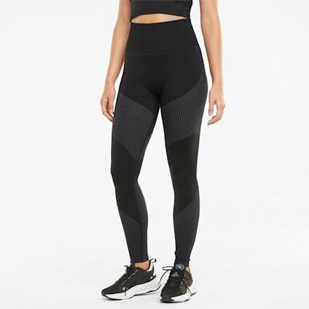 Mallas de entrenamiento de largo 7/8 de cintura alta sin costuras para mujer, Puma Black-Asphalt, small