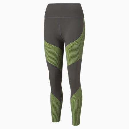Leggings de entrenamiento sin costura con cintura alta 7/8 para mujer, Asphalt-Yellow Glow, pequeño