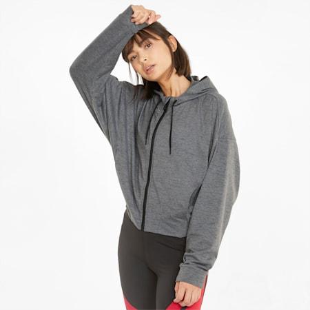 Felpa con cappuccio da training con zip integrale CLOUDSPUN da donna, Puma Black Heather, small