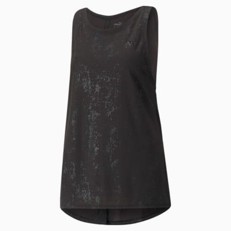 Camiseta sin mangas de entrenamiento Forever Luxe para mujer, Puma Black-estampado mate, pequeño