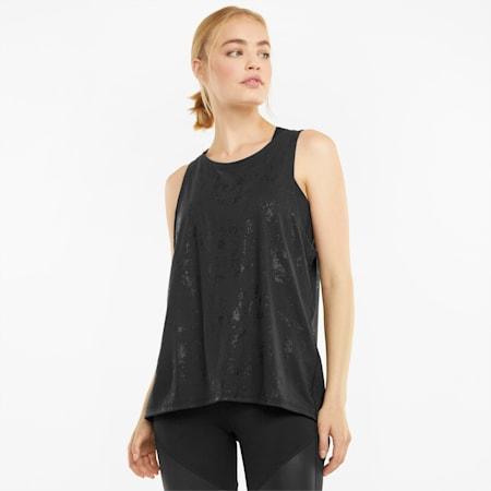 Top de entrenamiento sin mangas para mujer Fashion Luxe, Puma Black-matte print, small
