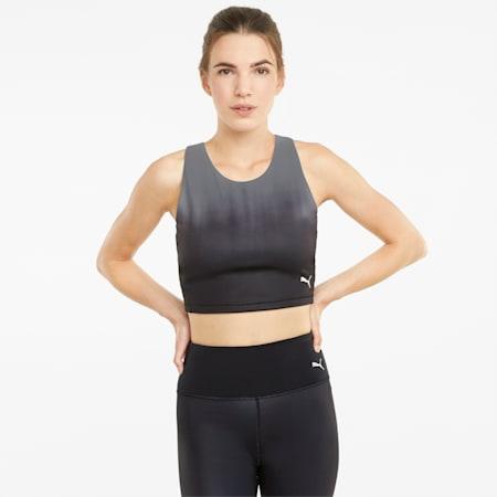 Studio Ombre Damen Racerback Trainings-Crop-Top, Puma Black-Asphalt-ombre print, small