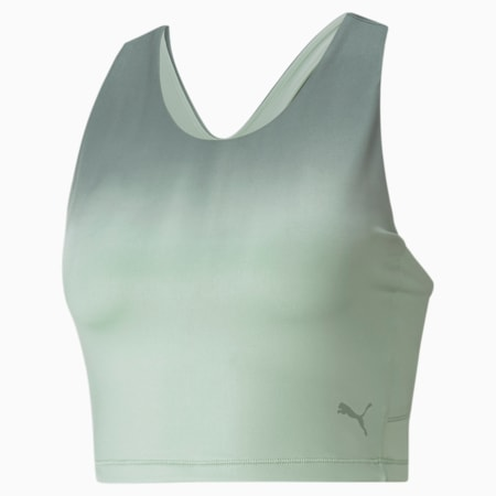 Studio Ombre Racerback Women's Performance Crop Top, Frosty Green-Midnight Green-ombre print, small-IND