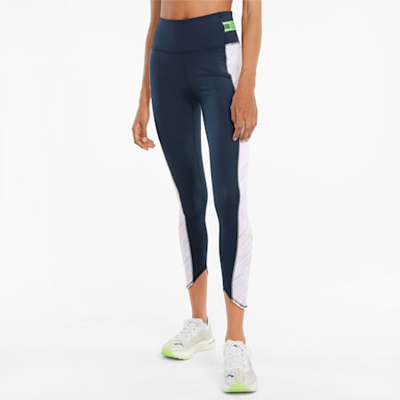 RUN High Shine 7/8 Women's Slim Tights, Puma White-Spellbound, small-IND