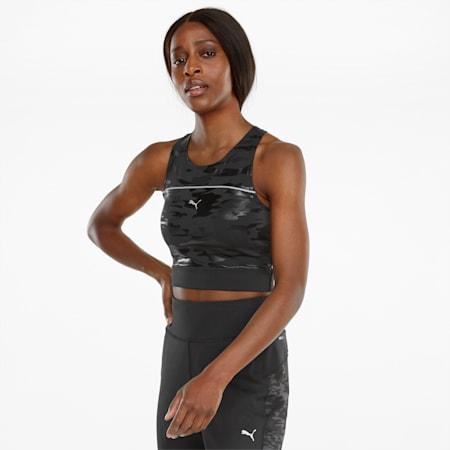 Camiseta sin mangas para correr corta High Shine Cropped para mujer, Puma Black, pequeño