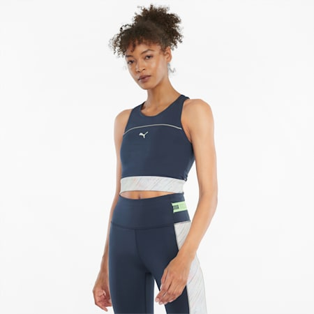 High Shine Cropped Women's Running Tank Top, Puma White, small-SEA