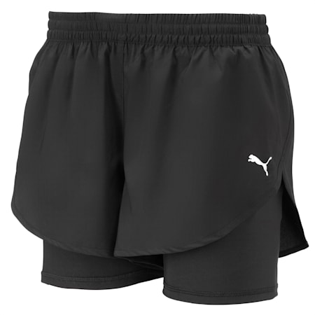 Shorts da running in tessuto 2 in 1 donna, Puma Black-Puma Black, small