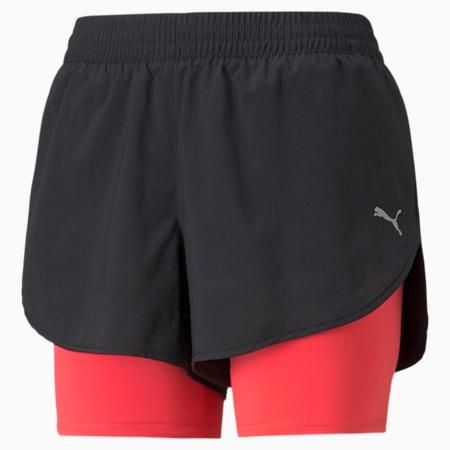 2 in 1 Women's Woven Running Shorts, Puma Black-Sunblaze, small-SEA
