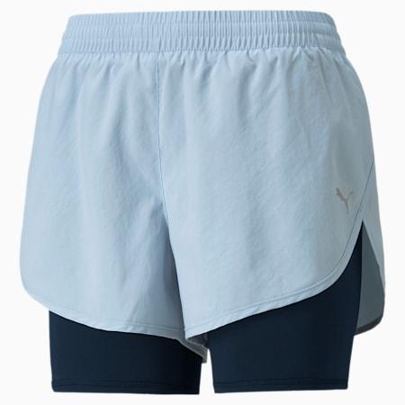 Shorts para correr tejidos 2 en 1 para mujer, Blue Fog-Puma Black, pequeño