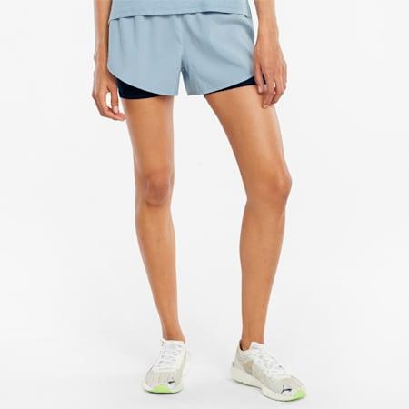 2 in 1 Women's Woven Running Shorts, Blue Fog-Puma Black, small