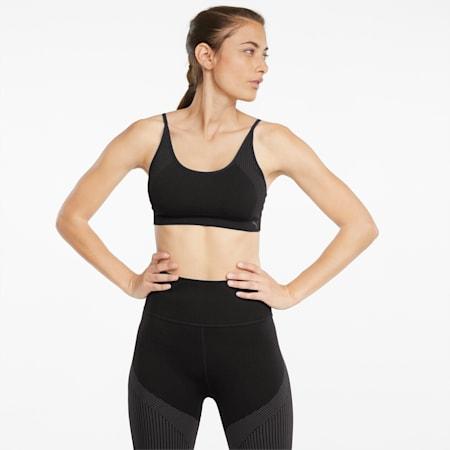 Strappy Seamless Women's Training Bra, Puma Black, small-GBR