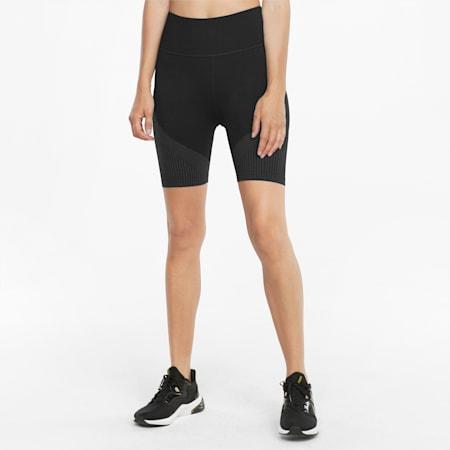 Shorts de entrenamiento sin costuras de 13 cm para mujer, Puma Black-Asphalt, small
