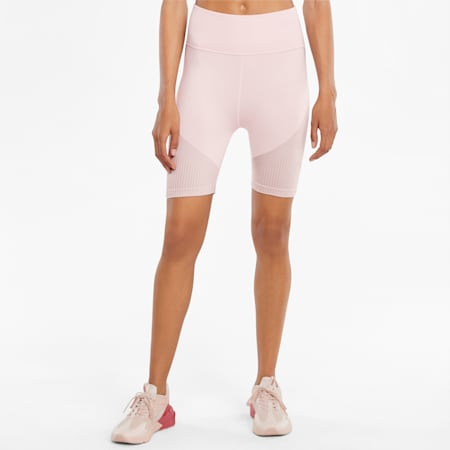Short de sport 13cm sans coutures femme, Lotus-High Rise, small