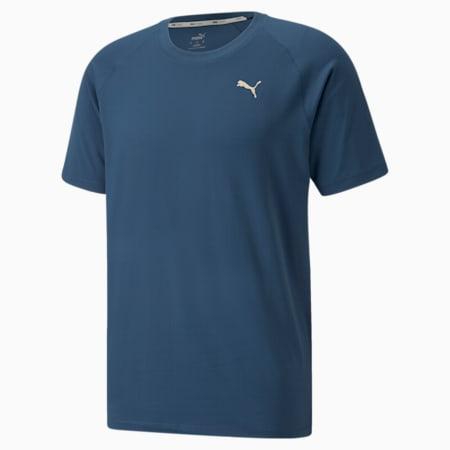 Camiseta de entrenamiento de manga corta Studio Yogini para hombre, Intense Blue, pequeño