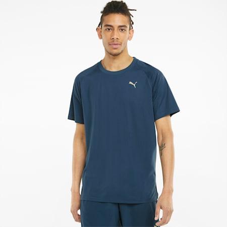 Męski T-shirt treningowy z krótkim rękawem Studio Yogini, Intense Blue, small