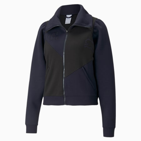 Damska bluza treningowa dresowa PUMA x GOOP, Dark Sapphire-Puma Black, small