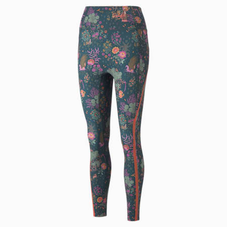 Damskie legginsy treningowe PUMA x LIBERTY Forever Luxe, Green Gables-AOP, small