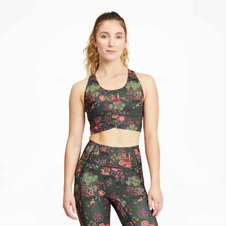 PUMA x LIBERTY Forever Luxe Women's Training Bra, Green Gables-AOP, small-GBR