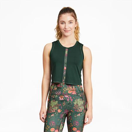 Camiseta sin mangas de entrenamiento PUMA x LIBERTY Forever Luxe para mujer, Green Gables, pequeño