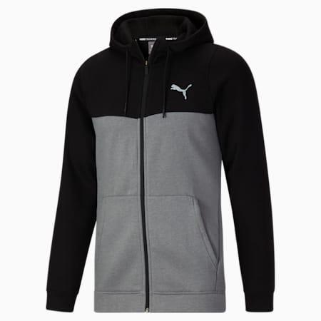 Sudadera con capucha para entrenamiento con cierre completo Trend Pwrhouse para hombre, Medium Gray Heather-Puma Black, pequeño
