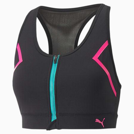 Reggiseno da training PUMA x BARBELLS FOR BOOBS con zip sul davanti da donna, Puma Black, small