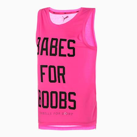 Camiseta sin mangas de entrenamiento PUMA x BARBELLS FOR BOOBS Muscle para mujer, Rosa luminoso, pequeño