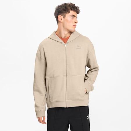 Full Zip Men's Hoodie, Pale Khaki, small