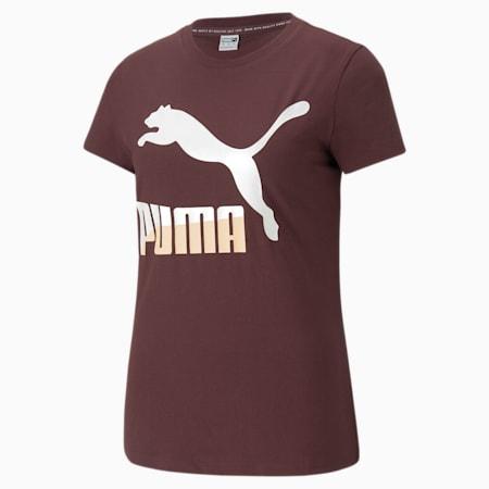 Classics T-shirt met logo dames, Fudge-pearl, small