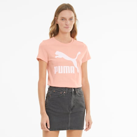 Classics Logo Damen T-Shirt, Apricot Blush, small