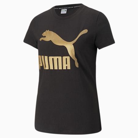 Classics Logo Women's  T-shirt, Puma Black-gold, small-IND
