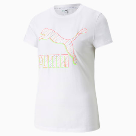 Camiseta Classics Logo para mujer, Puma White-Spectra, pequeño