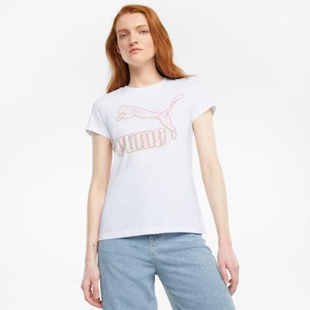 T-shirt con logo Classics donna, Puma White-Spectra, small
