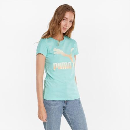 Classics Logo Damen T-Shirt, Eggshell Blue-Gloaming, small