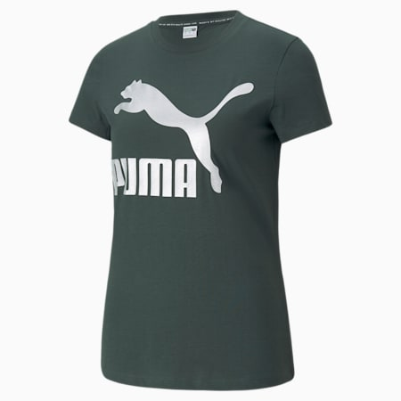 T-shirt Classics Logo, femme, Pignons verts-argent, petit