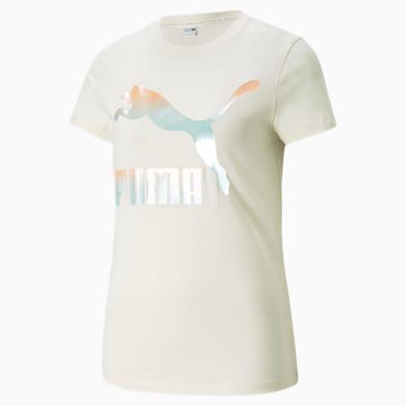Camiseta Classics Logo para mujer, Ivory Glow-Gloaming, pequeño