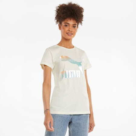 Classics Logo Damen T-Shirt, Ivory Glow-Gloaming, small