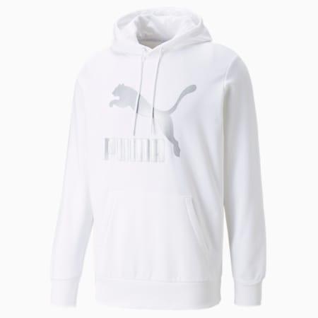 Sudadera con capucha y logo Classics para hombre, Puma White-Silver, pequeño