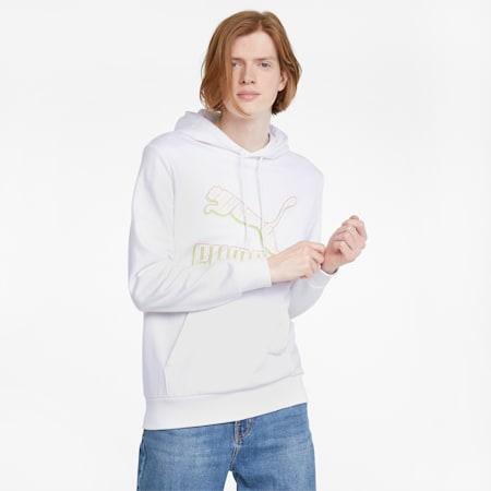 Classics Men;s Logo Hoodie, Puma White-Spectra, small-GBR