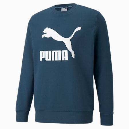 Suéter con cuello redondo y logo Classics para hombre, Intense Blue-Logo blanco, pequeño