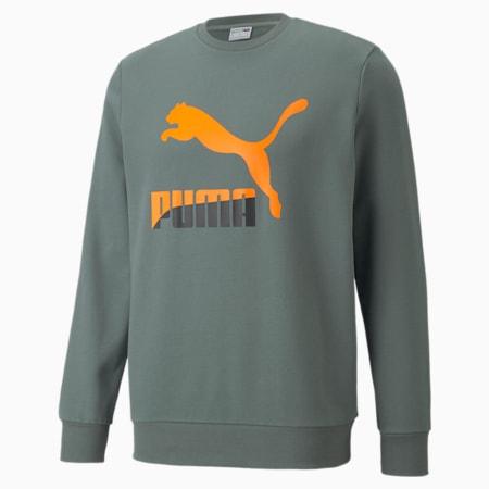 Suéter con cuello redondo y logo Classics para hombre, Balsam Green, pequeño