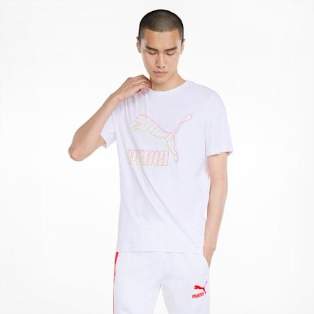 Classics Logo Herren T-Shirt, Puma White-Spectra, small